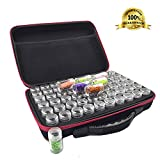 Fundaful 60 Slot Bead Organizer Diamond Painting Accessories Tool Storage Case Container Art Craft Paint Jewelry Beads Holder Shockproof High Capacity Zipper Carry Bag (Pink)