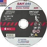 United Abrasives-SAIT 23106 A60S General Purpose Cut-Off Wheels (Type 1/Type 41 Flat) 6' x .045'x 7/8', 50-Pack