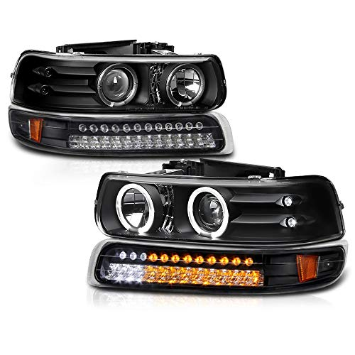 VIPMOTOZ Black LED Halo Ring Projector Headlight + LED Strip Front Bumper Parking Turn Signal Lamp Assembly Replacement For 1999-2002 Chevy Silverado 1500 2500 3500 & 2000-2006 Tahoe Suburban