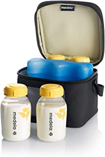 Medela Breast Milk Cooler and Transport Set, 5 ounce Bottles with Lids, Contoured Ice..
