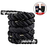 AUTUWT Heavy Jump Rope Skipping Rope Workout Battle Ropes with Gloves for Men Women Total Body Workouts Power Training Improve Strength Building Muscle