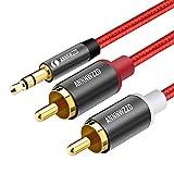 LINKINPERK、RCAオーディオケーブル、2つのRCAフォノYオーディオスプリッタケーブル、サラウンドサウンド、ドルビーデジタル、YスプリッタオーディオAUXケーブルへの3.5mmステレオジャック (1M, 赤)