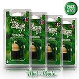 Les Arômes - Mini Bottle Deodorante Auto da Appendere, Bottiglia in Vetro e Tappo in Legno. Fragranza: Menta - Pack 4 PZ
