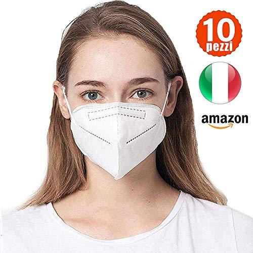 Katomi 10 pezzi di Facciale protettiva personale a 5 strati, nasello regolabile, Magazzino italiano, Consegna in 1-3 giorni
