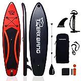 Planche de stand up paddle gonflable Tigerxbang de 3 m, 15 cm d'épaisseur, pompe, sac à dos, pagaie réglable, laisse, kit de réparation - 300 × 71 × 15 cm