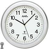 AMS 5956 horloge de salle de bain étanche radio argent