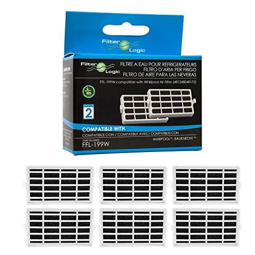 FilterLogic | Pacco da 6 - Filtro antibatterico per frigorifero Whirlpool, Indesit, KitchenAid,...