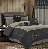 Chezmoi Collection Winslow 7-Piece Western Star Embroidery Microsuede Oversized Bedding Comforter Set (Queen, Gray/Light Gray)
