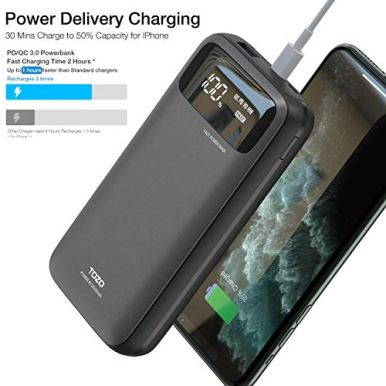 TOZO-PB2-PDQC-30-Fast-Charger-20000mAh-with-Visible-Digital-Display-Portable-Power-Bank-18W-Battery-Pack-with-Dual-Input-Ports-High-Speed-Charging-for-iPhoneSamsung-and-More