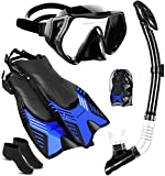 Ninetials 4 in 1 Snorkel Set for Adults with Adjustable Dive Flippers, Panoramic View Anti-Fog Mask, Dry Top Snorkel and Dive Socks, Snorkeling Gear Mask Fin for Snorkeling Swimming Scuba Diving(S/M)