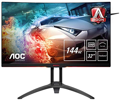 AOC AGON AG322QC4 Monitor Gaming da 31,5' Curvo, QHD 2560x1440, 144Hz, 4 msec, HDR 400, Speaker, 2 x HDMI, 2 x DP, 2 x USB, Nero