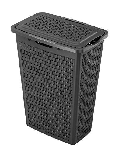 Sundis Country Wäschesammler 40 l in Rattan-Optik, Kunststoff (PP), schwarz, 40 Liter (43,5 x 28,5 x 57,5)
