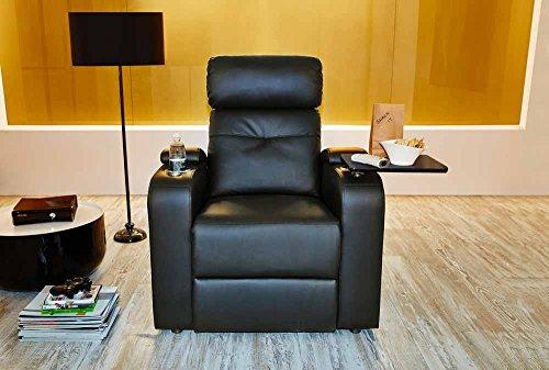 lifestyle4living Kinosessel in Schwarz, Kunstleder, mit Liegefunktion, Getränkehalter und Ablagefläche | Perfekter Sessel für entspannte Heimkino-Abende