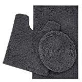 ITSOFT 3pc Non-Slip Shaggy Chenille Bathroom Mat Set, Includes U-Shaped Contour Toilet Mat, Bath Mat and Toilet Lid Cover, Machine Washable, Charcoal Gray