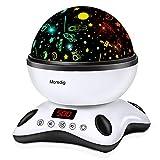 Moredig Lámpara Proyector Estrellas, 360° Rotación Músic Lampara con Temporizador led Pantalla y Control Remoto, 8 Modos Romántica luz de la Noche, Perfecto Regalo para Bebés (Negro)