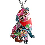 Luckeyui Personalized Pug Dog Gift Necklace for Women Girls Multicolor Enamel Pets Pendant Jewelry