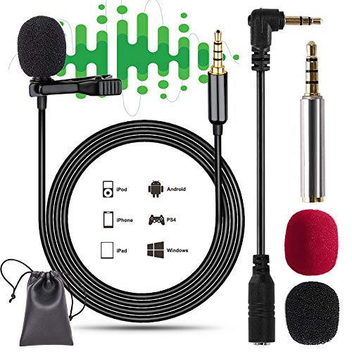 Lavalier Mikrofon für Handy and PC, NOCHME 3,5mm Jack Professional Omnidirectional Mini Mic mit Windschutz und Pu-Tasche für Android Smartphone iPhone für Interview Videokonferenz Podcast Diktat