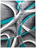 Persian Area Rugs Turquoise 8x10 2305 White Swirls 7'10 x10'6 Modern Abstract Area Rug, 8' x 10'