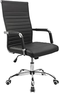 Furmax Ribbed Office Desk Chair Mid-Back PU Leather Executive Conference Task Chair..