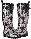 Capelli New York Ladies Shiny Floral Printed Tall Rainboot Black Combo 6