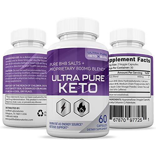 Ultra Pure Keto X Burn Pills Advanced BHB Ketogenic Supplement Exogenous Ketones Ketosis for Men Women 60 Capsules 2 Bottles 3