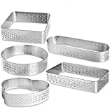5 Pack Stainless Steel Tart Ring, Heat-Resistant Perforated Cake Mousse Ring Mold for Pastry Cake Pancake