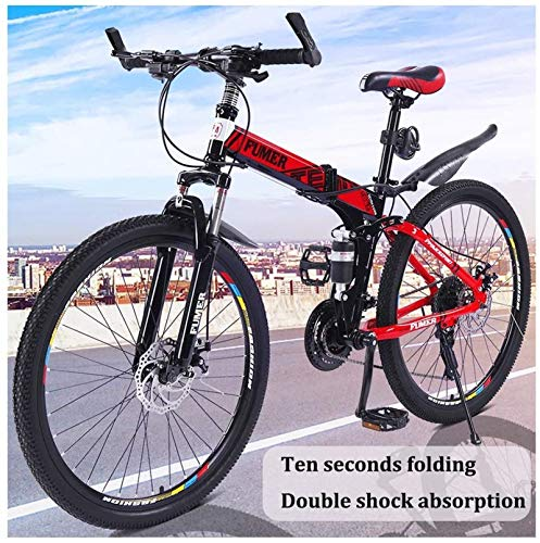Product Image 2: Road Bikes Mountain Bikes for Adults,Foldable MTB Ebikes for Men Women Ladies, All Terrain 24/26inch Mountain Bike ,Small Space Storage Folding Bicycle Comfortable Seats (Color : Black Blue, Size :