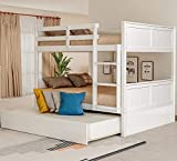 Merax Full Bunk Bed with Twin Size Trundle for Kids and Teens, Full/Full, White