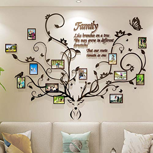 DecorSmart Antlers Family Tree Wall Decor for Living Room, 3D...