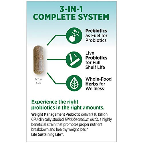 New Chapter Weight Management Probiotic, 60ct (2 Month Supply), Probiotics for Men & Women with Prebiotics and Probiotics + 100% Vegan + Soy Free + Non-GMO 9