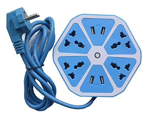 Suneetri Store हेक्सागोन इलेक्ट्रिकल एक्सटेंशन कॉर्ड 4 सर्ज पावर सॉकेट 4 USB पोर्ट के साथ कंप्यूटर के लिए 6 ft. वायर प्रोटेक्टर स्पाइक स्ट्रिप गार्ड