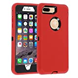Case for iPhone 7 Plus/8 Plus Heavy Duty Co-Goldguard Armor 3 in1 Built-in Screen Protector Rugged Cover Dust-Proof Shockproof Drop-Proof Shell Compatible with Apple iPhone 7+/8+ 5.5',Red/Black
