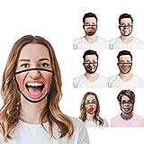 HZSGG Kexulit Unisex 4/7PCS Novelty Funny Print Face Màsc Bandanas, Washable/Reusable (Multicoloured 7Pcs)