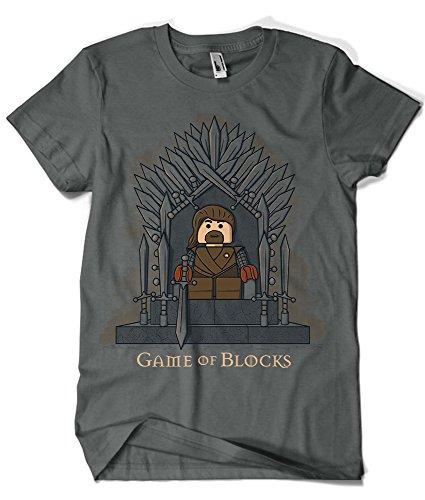 694-Camiseta Juego De Tronos - Game of Blocks (2MZ) (3XL, Gris Oscuro)