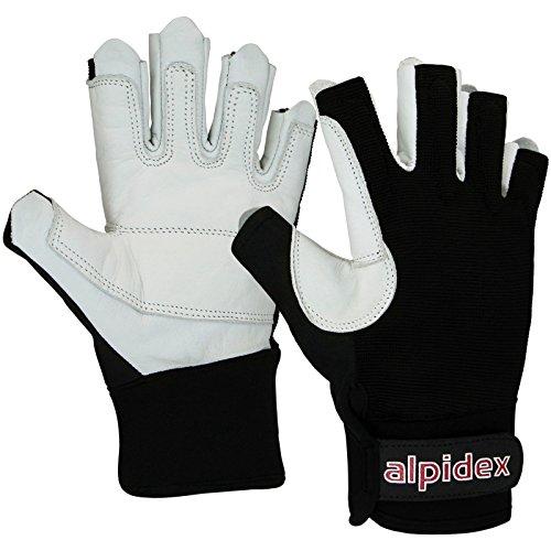 ALPIDEX Klettersteig-Handschuhe Black BOA Unisex Echtleder, Größe:L