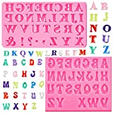 2 Pieces Pink Letter Molds Alphabet Silicone Molds Candy Fondant Alphabet Molds Baking Letter Molds for Making Fondant, Pudding, Soap, Sugar Craft, Candy, Chocolates, Soap (Pink)