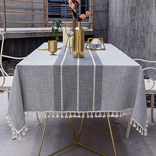 OstepDecor Stitching Tassel Tablecloth, Cotton Linen Table Cloths...