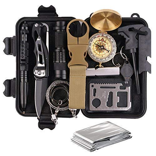 Survival Gear Kits 13 in 1 Outdoor Emergency SOS Survive Tool for...