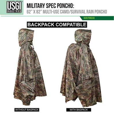 USGI Industries Military Style Poncho   Emergency Tent, Shelter, Survival   Multi Use Rip Stop Camouflage Rain Poncho (OCP)