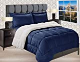 Elegant Comfort Premium Quality Heavy Weight Micromink Sherpa-Backing Reversible Down Alternative Micro-Suede 3-Piece Comforter Set, King, Navy Blue