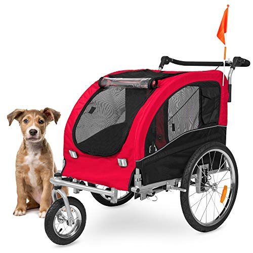 Best Choice Products 2-in-1 Pet Stroller and Trailer w/Hitch, Suspension, Safety Flag, and Reflectors