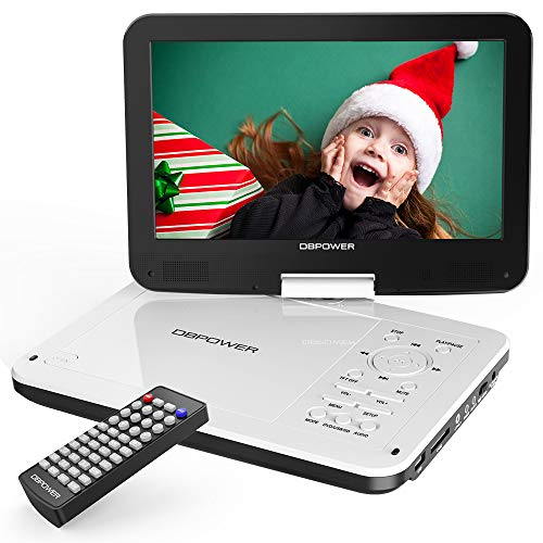 DBPOWER 12' Portable DVD Player with 5-Hour Rechargeable Battery, 10' Swivel Display Screen, SD Card Slot and USB Port, with 1.8 Meter Car Charger and Power Adaptor, Region Free-White