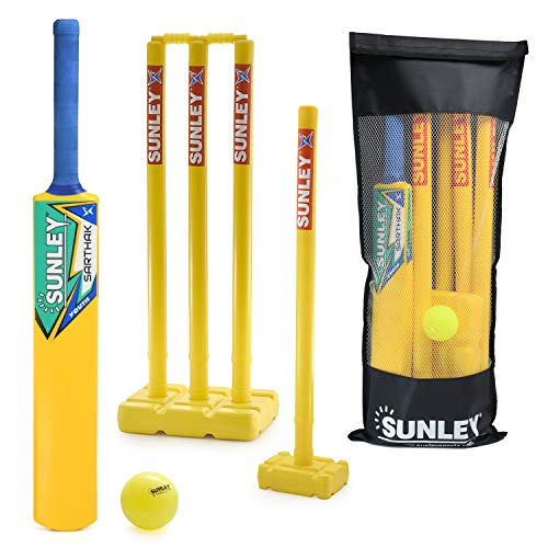 SUNLEY Plastic Cricket kit for All Age Groups and Sizes (1 Piece Cricket Bat, 4 Piece Wickets, 2 Piece Base, 2 Piece Bails, 1 Piece Wind Ball, 1 Piece Kit Bag) ,Multicolour