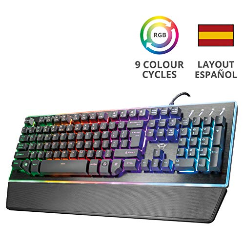 Trust Gaming GXT 860 Thura - Teclado Gaming LED semi mecánico,...