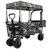 """Push and Pull Collapsible Utility Wagon, Heavy Duty Folding Portable Hand Cart with Removable Canopy, 7"""" All-Terrain Wheels, Adjustable Handles and Double Fabric for Shopping, Picnic, Beach, Camping"""