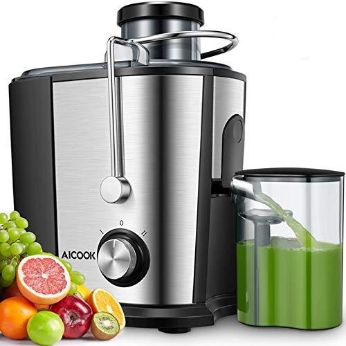 Centrifuga Frutta e Verdura, Aicook 600W Estrattore di Succo a Freddo a 65MM Bocca, Acciaio Inossidabile a Usi Alimentari senza BPA, Ricette di Elettronica, Funzione Antigocciolamento