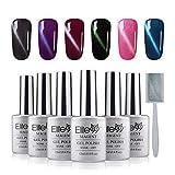 Elite99 Magnetic 3D Cat Eye Gel Nail Polish Kit UV LED Soak Off Gek Lacquer Manicure Nail Art 6 Colors 12ML Magnet Sticks C001