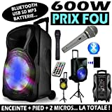 KARAOKÉ 600w + 2 MICROS Fil et sans Fil Enceinte Sono Portable Autonome + Pied...