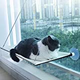 WHICH DOG Cat Window Hammock Seat Cat Window Perch Bed Window Mounted Hommock Suction Hanging Pet Window sill Resting Seat Extra Sturdy Cat Holds Up to 33 Lbs (Beige)