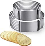 2pcs Cake Slicer Adjustable Cake Cutter 9'-12' and 6'-8' Stainless Steel Multi Layered Cake Ring Circular Cutter Baking Tool Kit Mousse Mould for Women Wedding Christmas Mothers Day Gift (Cake Slicer)